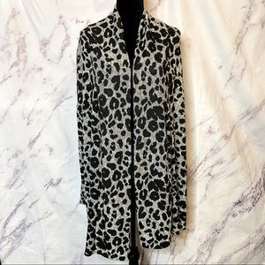 Caslon Black Gray Animal Print Open Cardigan